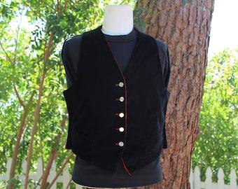 Reversible Black/Red Corduroy Vest (Vintage/80's)
