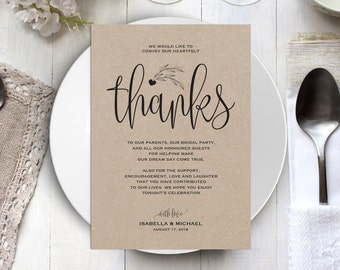 Wedding Thank You Printable Template, Thank You Card Template, Printable Thank you, Thank You Template, Thanks Template, WPC_25SD2A