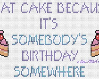 I Eat Cake cross stitch pattern (PDF download)