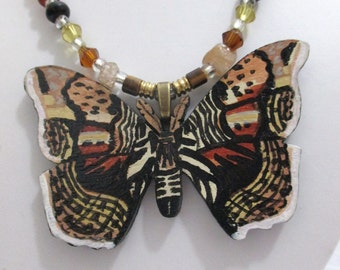 Brahmin Moth Painted Wood Pendant on Stone and Glass Beaded Necklace
