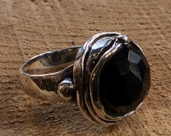 Sterling silver ring, black onyx ring, gemstone ring, onyx oxidized ring, organic statement ring, cocktail ring - Notorious Wind R1470-11