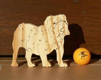 "Animal puzzle ""Bulldog"" in woodcut"