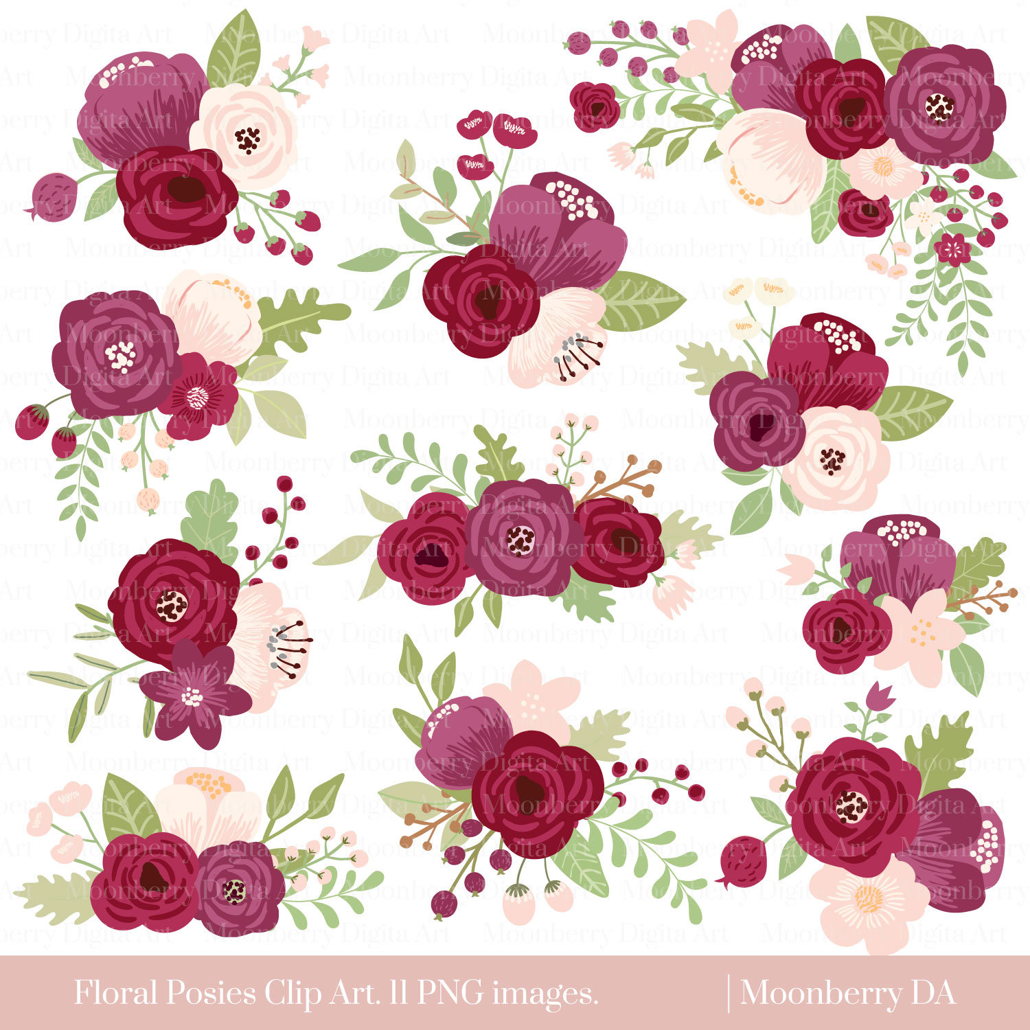 Clipart Flowers Wedding Invitation Clipart Flowers: Marsala Flower Clipart FLORAL POSIES CLIPART