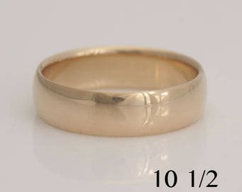 Men's 14k yellow gold wedding band, size 10 1/2 comfort fit, also in custom sizes, #604.