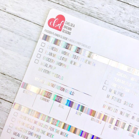 Foiled Weekly Prep Checklist Stickers | Passion Planner Stickers for the  Classic and Compact Pro Size from chelseabrowndesigns on Etsy Studio
