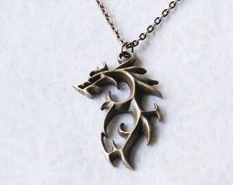 Dragon Necklace / Wolf Necklace / Brass Dragon Necklace / Fantasy Dragon Necklace / Fantasy Jewelry / Dragon Jewelry