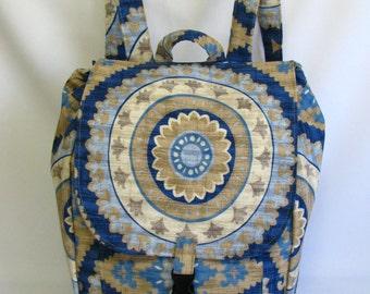 CLEARANCE Large backpack-   Blue beige floral medallion solarium canvas