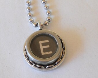 Recycled jewelry, Initial Necklace, Typewriter Key Necklace,  Vintage, Initial Jewelry,  All Letters A-Z