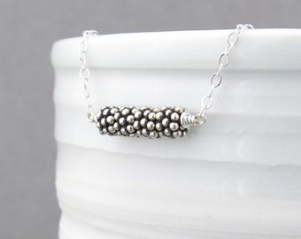 Silver Bar Necklace Layer Necklace Silver Necklace Silver Bead Necklace Bohemian Jewelry Gift for Her Under 50 Handmade Jewelry