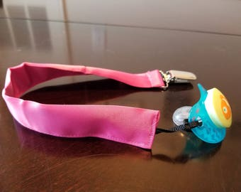 Hot pink satin pacifier clip