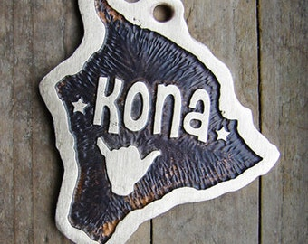 Hawaii State Pet ID Tag, Etched Brass Dog Tag