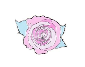Paradise Rose Lapel Enamel Pin - Flower Pin - Soft Enamel Pin - Pastel Lapel Pin