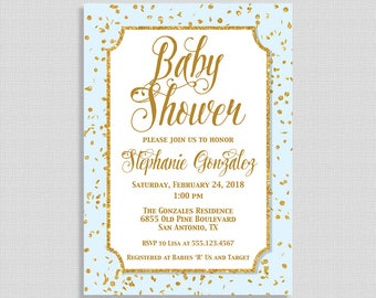 Blue and Gold Baby Shower Invitation, Gold Glitter Confetti Baby Shower Invite, Baby Boy, DIY PRINTABLE