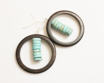 African Inspired Wood and Turquoise Earrings, Wood Statement Earrings, Tribal Earrings