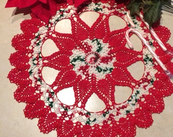 Crochet Doily; Peppermint Poinsettia Doily; Christmas Doily; Holiday Doily; Handmade Doily; Holiday Decor; Christmas Home Decor