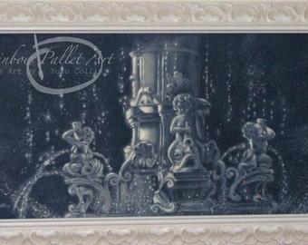 The Fountain, an original oil painting by Yoko Collin,  canvas panel, 30 x 15 inches オリジナル油絵『噴水』76.2cm x38.1cmキャンパスパネル、コリン洋子 作