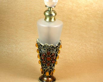 Victorian Frosted Glass and Amber Rhinestone Perfume Bottle