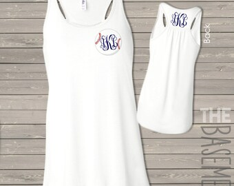 monogram baseball tank - flowy bella tank - monogram front and back baseball shirt