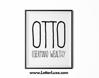 Otto Printable Kids Gift - Name Meaning Art - Baby Shower Gift - Nursery Art - Digital Print - Nursery Decor - Typography Wall Decor