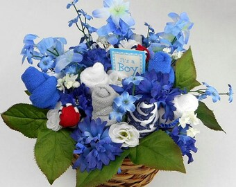 Gift Basket - Baby Flower Bouquet - Baby Shower Decorations - Baby Socks & Baby Washcloths - New Baby Flower Gift - Unique Baby Gift