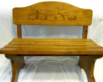 Personalized Wood Children's Bench- Custom Engraved Design