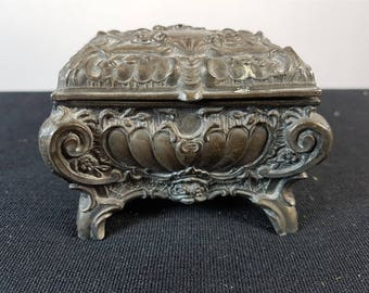 Antique Victorian Silver Metal Jewelry Casket Box Late 1800's Original Ornate