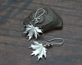 Light and Large Silver Maple Leaf Earrings
