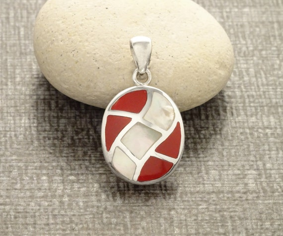 Oval Mosaic Pendant - Sterling Silver Pendant, White Mother of Pearl, Wave Pattern Pendant, Inlay Dangle Pendant, Red, Shell Pendant