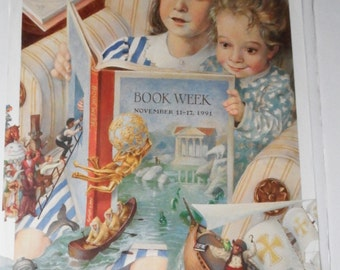 reading poster - reading print - vintage poster - library poster - vintage 90s