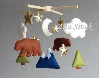 Bear Mobile Bear Baby Mobile Bear Nursery Mobile Woodland Baby Mobile Bear Nursery Decor Bear and Mountain Woodland Theme Baby Boy Mobile
