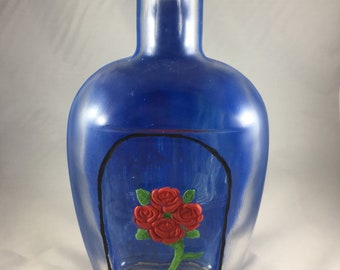 Beauty And The Beast: Enchanted Rose-Disney Inspired Painted Bourbon Bottle