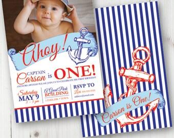 Nautical Sailor Birthday Invitation, Sailor First Birthday, 1st Birthday, Printable, Custom Invite, Ocean, Sea Theme, Ahoy, Navy Theme