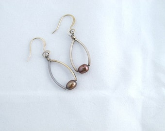 Earrings silver tubes with champagne colored pearls on sterling silver fishhook earring finding