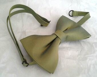 Olive green silk wedding bowtie special occasion dupioni silk formal bow tie pretied
