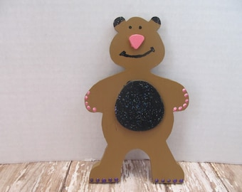 Wood Teddy Bear Plaque-Kids Room Decor-Wall Hanging-Birthday Gift-Wall Decor-Gifts for Her-Girls Room Decor-Gifts for Kids