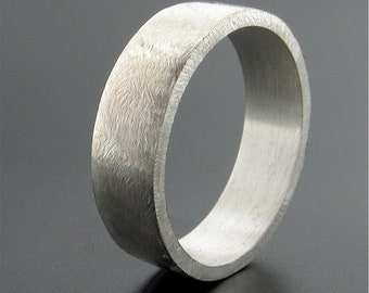 Flat 6mm silver mens rustic wedding ring, Frost on the Lake original design.