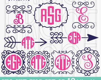 Monogram SVG Files Set of 12 cutting files {SVG/PNG/jpg formats} No monograms included. Arrow svg arrow monogram arrow hearts