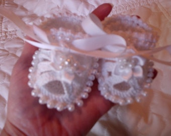 Sale! Baptism Christening Beaded Baby Shoes Booties Crochet Beaded Baby Booties/sandals, Free shipping IN USA, Baby prop by Kelly Taylor