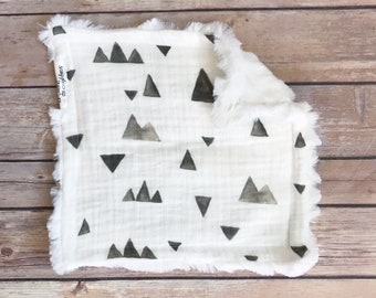 Security Blanket - Mountain Baby Blanket - Mountain Baby Gift - Woodland Nursery - Mountain Nursery - Lovie - Lovey - Baby Shower Gift Boy