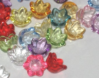Acrylic Flower Beads Lucite Flower Beads 60 Tulip Beads - Watercolours  -10mm
