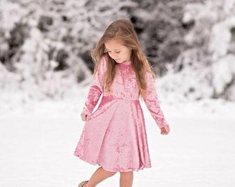 Girls Pink Crushed Velvet Twirly Dress, Pink Dress, Girl Long Sleeve Pink Dress, Girl Dresses Sizes 2/3, 4/5, 6/6X, 7/8, 10/12 Ready to Ship