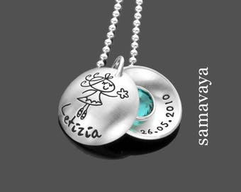 Name chain magic forest 925 Silver necklace engraved children's jewellery ballerina
