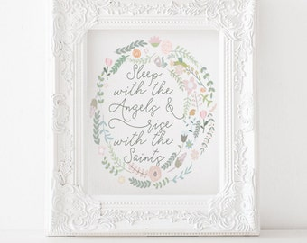 Sleep with the Angels, rise with the Saints Printable, Catholic print, catholic decor, christian print, catholic art christian nursery print