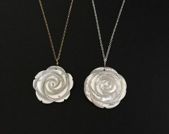 White Rose Necklace. Sterling Silver.Gold Filled.Rose Gold. Hand Carved Rose. White Shell Rose. Large Rose Pendant.Layering Necklace.Wedding