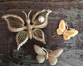 Vintage Gold Butterfly Brooches - set of 3