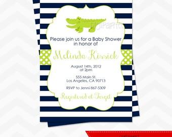 Preppy Alligator Baby Shower Invitation