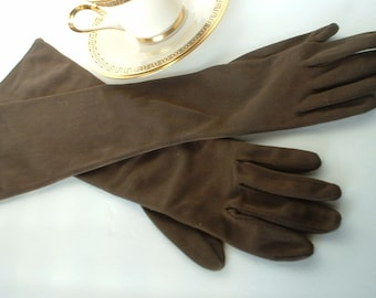 Vintage Long Brown Gloves Ladies To The Elbow Mid Century Classics Size 6 or Small Cotton Mint