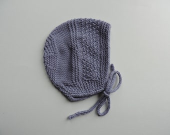 Lavender Cotton Hand Knit Baby Bonnet/Newborn Photo Prop