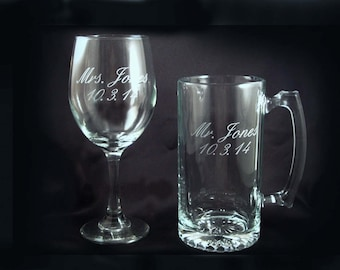 Custom Personalized Wine and Beer Mug Set - Etched Barware - Gift for the Bride and Groom - Etched Custom Wine Glass - Beer Mug Set