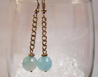 Long Ice Blue Agate Earrings Light Blue Gemstone Casual Spring Summer Jewelry Teen Birthday Friend Thank You Gifts Under 20 Bolivian Jewelry